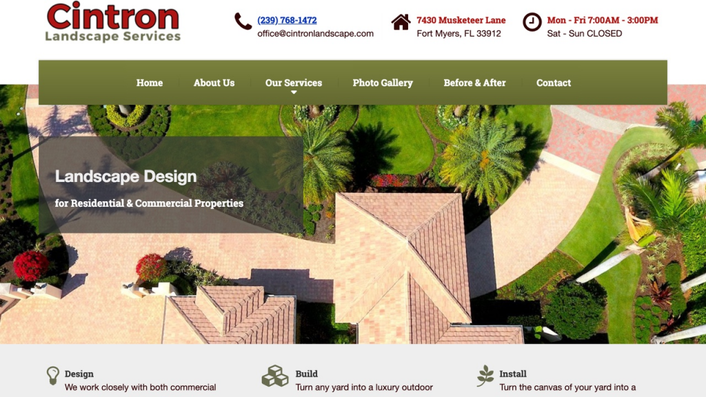landscaping services website designed by pinpoint local los angeles web services