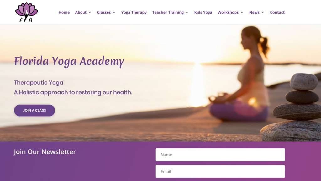 yoga studio website designed by pinpoint local los angeles web services